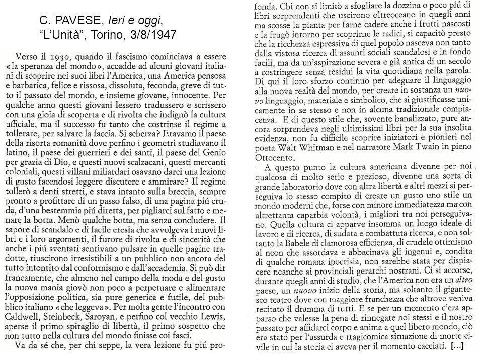C. PAVESE, Ieri e oggi, L'Unità , Torino, 3/8/1947 […]